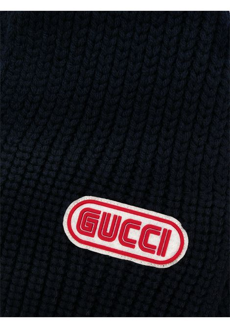 blue wool 15x180 scarf with front felt and rubber Sega font Gucci logo patch GUCCI |  | 527811-4G2064100