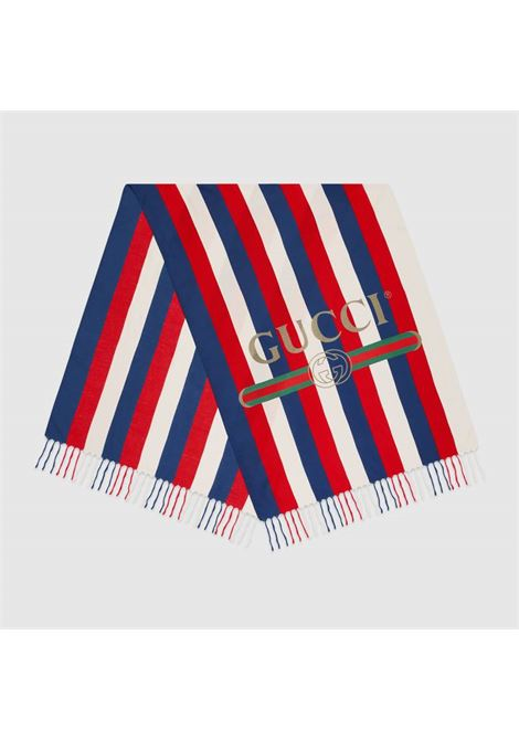 Foulard 100x180 in seta modal bianca, blu e rossa motivo baiadera GUCCI | Stole | 527812-4G3649068