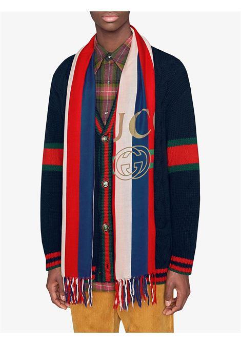100x180 baiadera motif white, blue and red modal silk scarf GUCCI |  | 527812-4G3649068