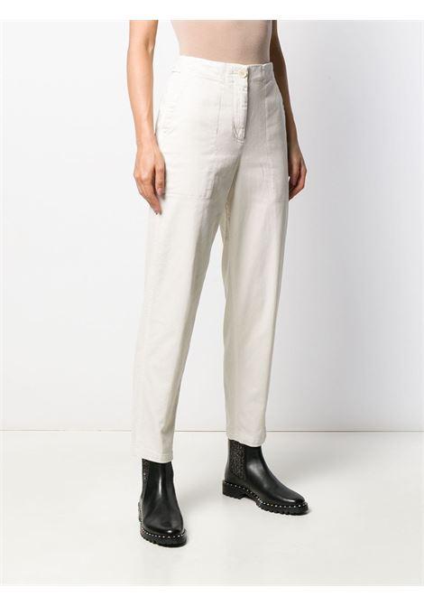 Pantaloni utility a vita media in cotone elasticizzato color crema ALBERTO ASPESI | Pantaloni | 0110-E72985043