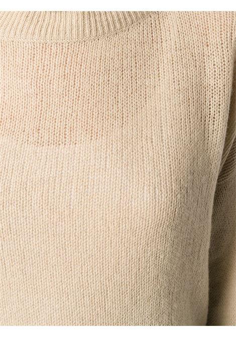 Maglione a collo alto in yak beige con collo alto a coste ALBERTO ASPESI | Maglieria Moda | 4096-553201046