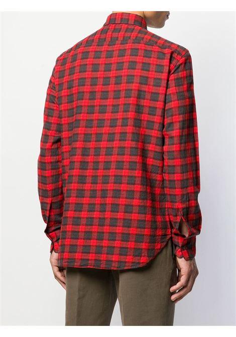 Camicia plaid in cotone rosso con collo classico ALBERTO ASPESI   Camicie   CE56-E70540291