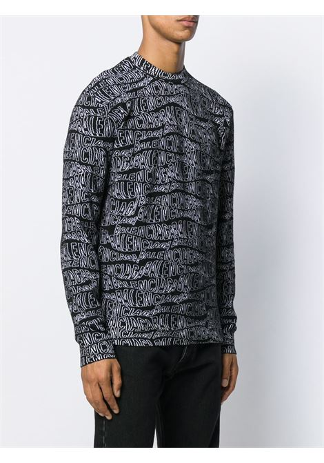 black and white virgin wool blend jumper with Balecniaga logo intarsia all over BALENCIAGA |  | 583154-T15351000