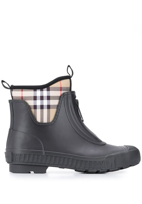black rubber ankle boot with Burberry Check polyammide sock BURBERRY |  | 8007033-LF FLINTONA1189
