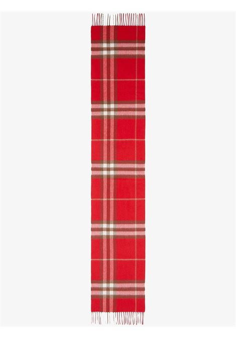 red cachemere fringed scarf in Burberry Check print  BURBERRY |  | 8016402-MU GIANT CHKA1460