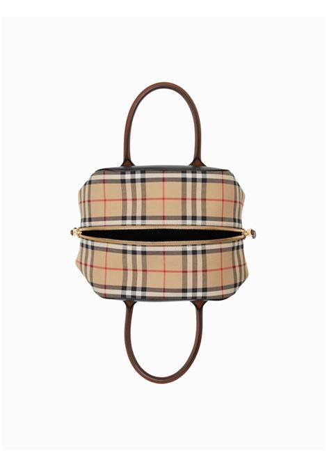 bauletto in pelle di vitello nero con stampa Burberry Check BURBERRY | Borsa | 8019359-LL SM CUBEA7026