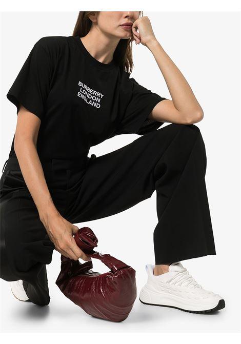 t.shirt in cotone nera con logo Burberry London England BURBERRY | Maglieria Moda | 8021175-CARRICKA1189