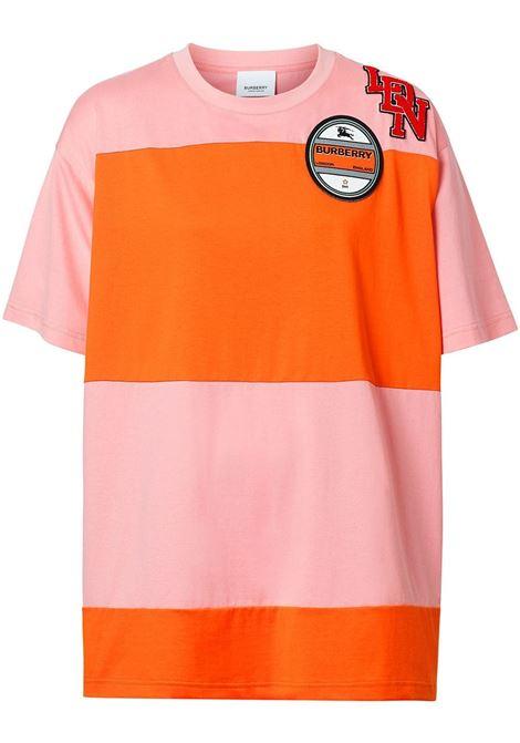 t-shirt in cotone oversize a pannelli rosa e arancio BURBERRY | Maglieria Moda | 8021863-CARRICKA3245