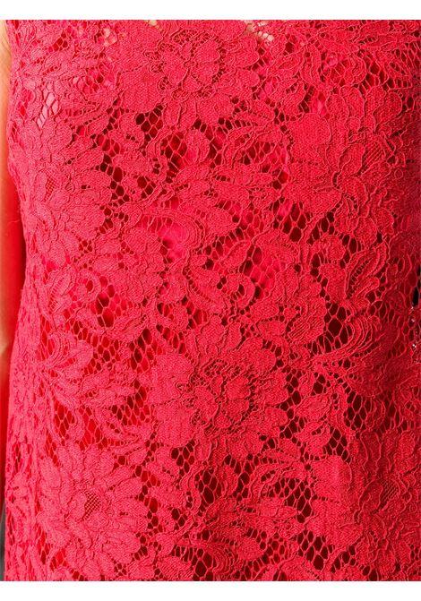 abito corto smanicato in pizzo smerlato e seta rossa con scollo tondo DOLCE & GABBANA | Abiti | F6A6OT-FLM9VR2254
