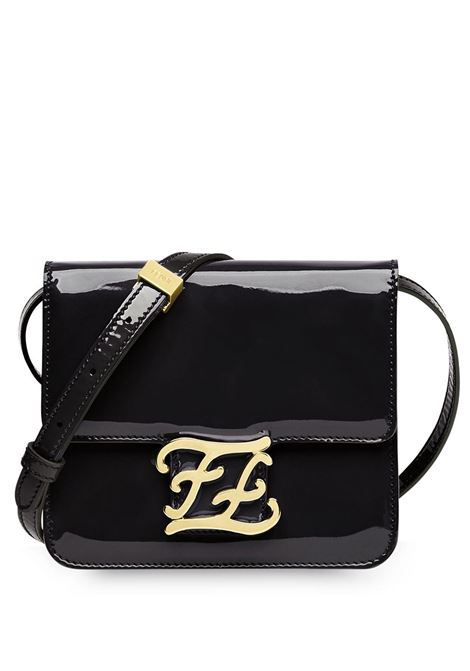 black patent leather Karligraphy shoilder bag with front gold FF logo plaque FENDI |  | 8BT317-A5AUF0KUR
