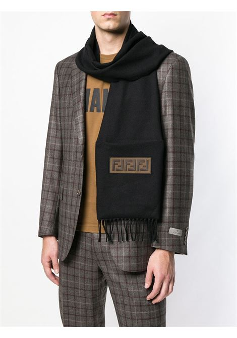 black wool FF patch scarf featuring fringed edges FENDI |  | FXS124-A45DF0QA1
