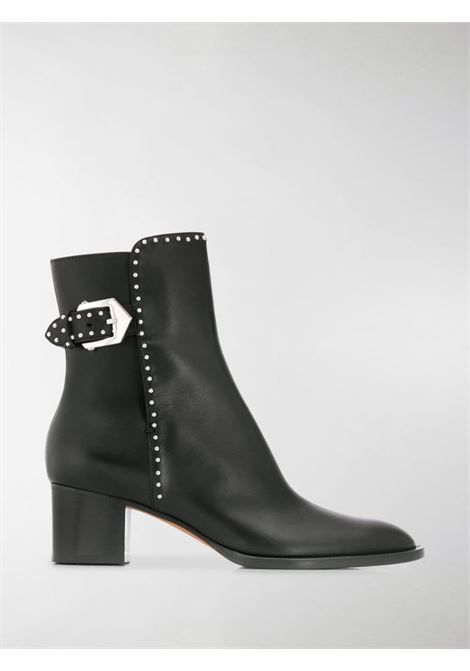 black leather buckled ankle boots feature an almond toe and micro stud details GIVENCHY |  | BE601DE00C001
