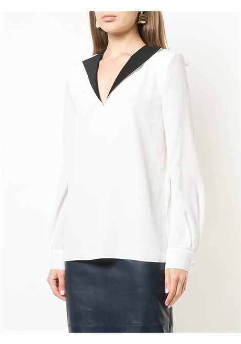 white silk blouse with contrasting black V neck detail GIVENCHY |  | BW60ER10JX116