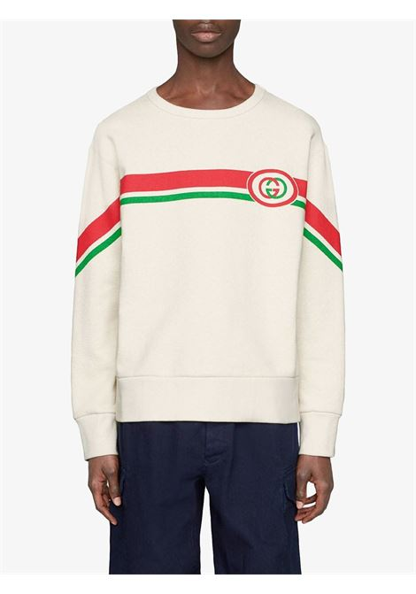 white creneck sweatshirt with front green and red bands and GG logo GUCCI |  | 475532-XJBCM9230