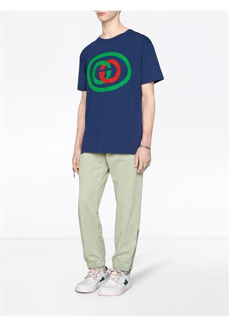 oversize fit blue cotton stonewashed vintage appearance t.shirt  GUCCI      565806-XJBAU4397