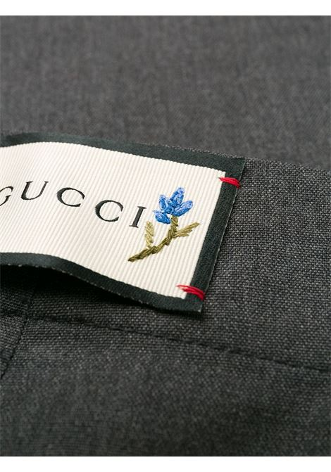 Pantaloni a gamba dritta a vita media in lana grigia GUCCI | Pantaloni | 568612-ZABW01200