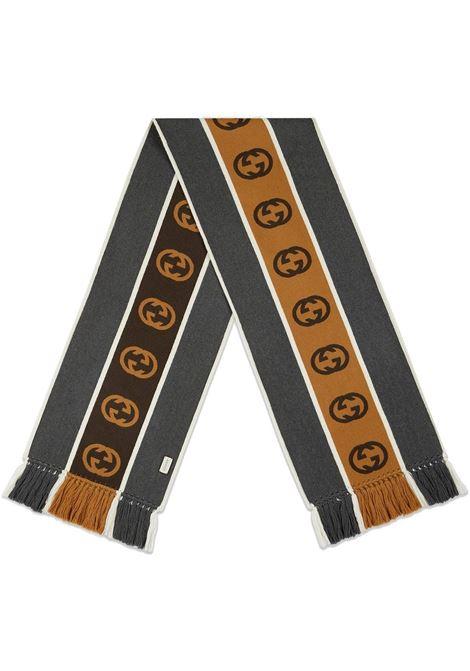 dark grey and brown 35x180 wool Interlocking G stripe scarf GUCCI      575605-4G1841279