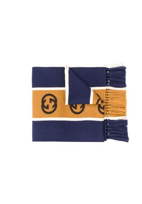 royal blue 35x180 wool-cotton blend scarf with Interlocking G featuring fringed edges  GUCCI      575605-4G1844379