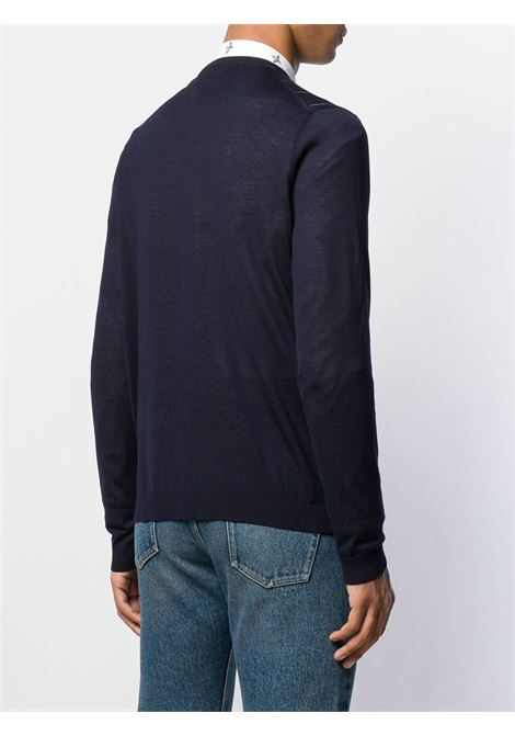 navy blue wool blend jumper featuring a ribbed v-neck and GG Gucci Stripe design  GUCCI |  | 576902-XKAUM4650