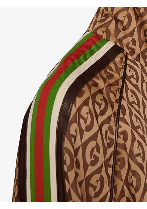 brown oversize zip jacket with vintage 1930 Gucci Rhombus print  GUCCI |  | 587358-XJBOV2100