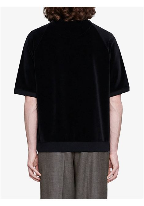 short sleeve sweatshirt in black chenille with front golden Gucci logo  GUCCI |  | 596384-XJBTC1082
