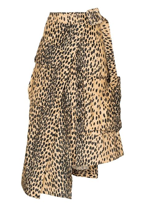 brown cotton blend leopard print asymmetric midi skirt JACQUEMUS |  | 193SK012105A