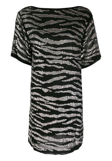 Abito nero a righe zebrate bianche con scollo tondo P.A.R.O.S.H. | Abiti | D720902-GEBRA857