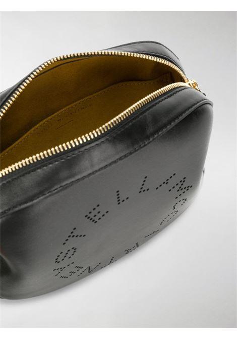 black eco-leather crossbody bag with white lettering logo shoulder strap STELLA MC CARTNEY      557907-W85421000
