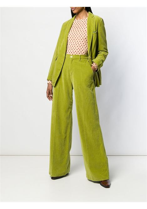 Chartreuse green cotton flared velvet trousers  featuring a belted waist FORTE_FORTE |  | 6746FOGLIA