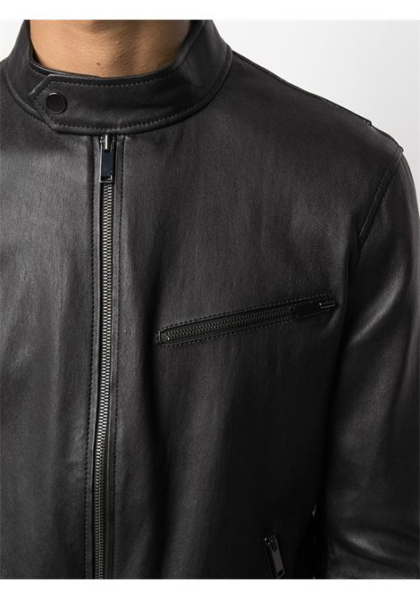 Black leather collarless leather jacket featuring seam detailing 1972 |  | K12362NERO