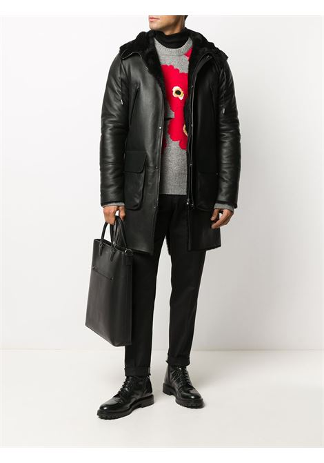 Black shearling zip-through hooded coat featuring two zip-fastening chest pockets 1972      K12448NERO