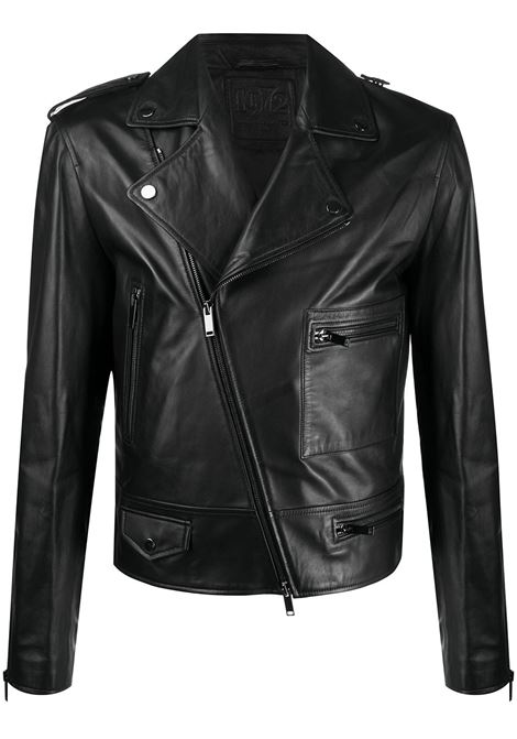 Black leather zipped-pocket biker jacket  1972 |  | K12510NERO