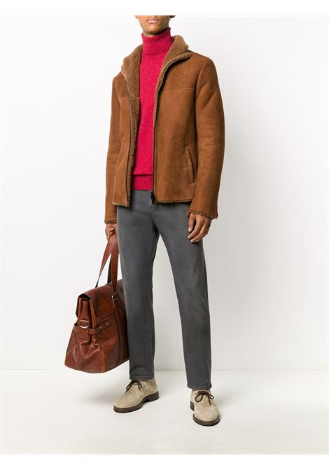 Brown cotton blend long-sleeve jacket featuring funnel neck 1972 |  | K12523CUOIO