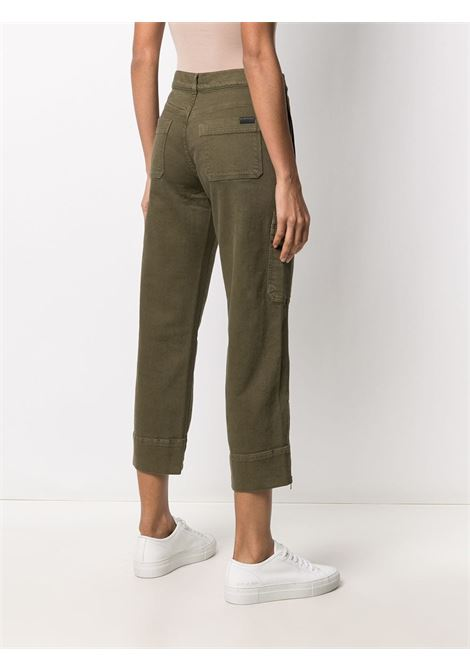 Military-green stretch-cotton mid-rise cropped trousers featuring mid-rise 7 FOR ALL MANKIND |  | JSC0X30ZAY-BIKER CARGOGREEN