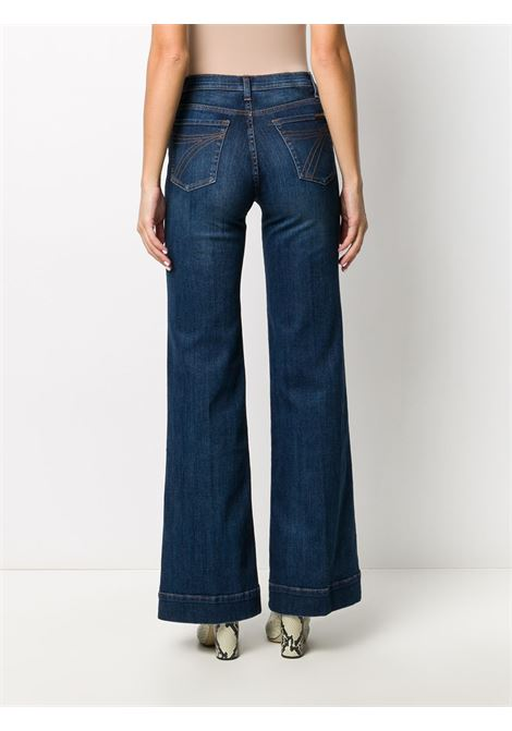 Blue cotton blend flared high-waisted jeans featuring stonewashed effect 7 FOR ALL MANKIND |  | JSWD44A0DN-MODERN DOJODARK BLUE