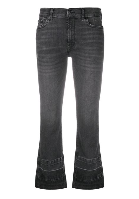 Black stretch cotton denim Illusion cropped bootcut jeans 7 FOR ALL MANKIND |  | JSYRB260SE-CROPPED BOO UNROLLETBLACK