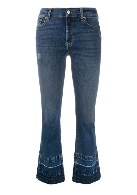 Dark blue cotton jeans featuring flared mid-rise 7 FOR ALL MANKIND |  | JSYRB270SP-CROPPED BOOT UNROLLEDDARK BLUE
