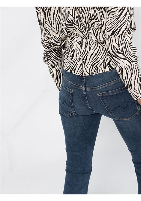 Jeans in cotone blu scuro caratterizzati da svasatura, vita media 7 FOR ALL MANKIND | Jeans | JSYRB270SP-CROPPED BOOT UNROLLEDDARK BLUE