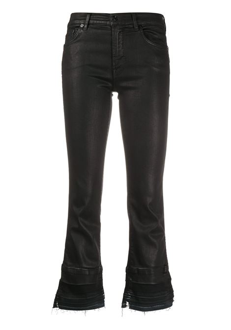 Black cotton cropped kick flare jeans featuring classic five pockets 7 FOR ALL MANKIND |  | JSYRV500BA-CROPPED BOOT UNROLLEDBLACK