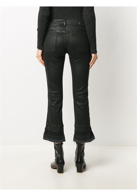 Jeans cropped flare effetto consumato in cotone nero 7 FOR ALL MANKIND | Jeans | JSYRV500BA-CROPPED BOOT UNROLLEDBLACK