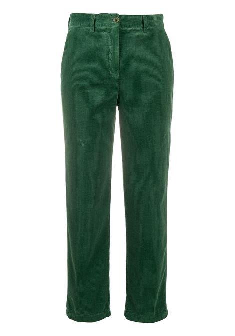 Pantaloni dritti in velluto a coste di cotone verde scuro ALBERTO ASPESI | Pantaloni | 0101-E79285397