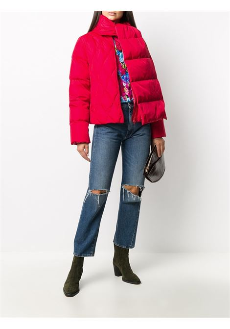 Red nylon and feather down detachable scarf down padded jacket featuring diamond quilting ALBERTO ASPESI |  | 016W-795385464