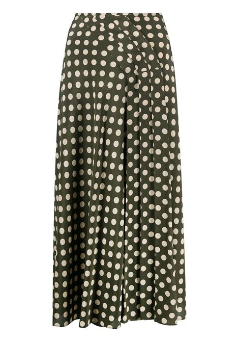 Army green and cream white silk polka dot skirt   ASPESI |  | 2204-A32355237