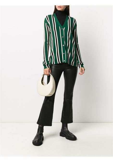 cardigan in lana verde con righe verticali bianche e nere ALBERTO ASPESI | Cardigan | 5036-496701503