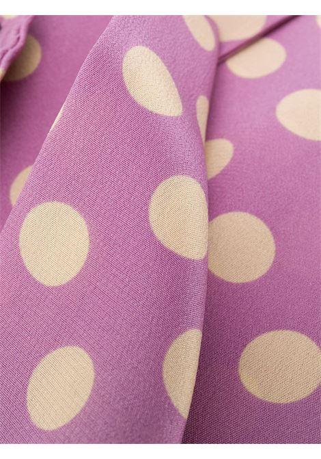 Foulard in seta rosa confetto a pois bianchi con bordo rifinito ALBERTO ASPESI   Sciarpe e foulards   8809-A32355205