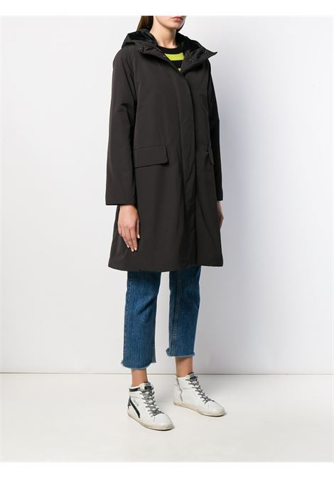 Black padded hooded midi coat featuring zip and press stud fastening ALBERTO ASPESI |  | 9N02-753250241