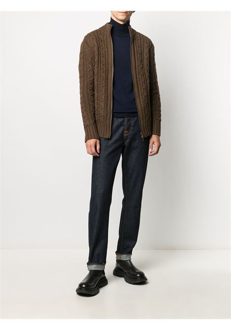 Sepia brown wool zip-through cable knit sweater   ALBERTO ASPESI |  | M352-396501223