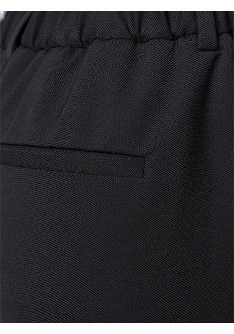 Black cotton and virgin wool-blend fitted cropped trousers  ALBERTO BIANI |  | CC844-WO024190
