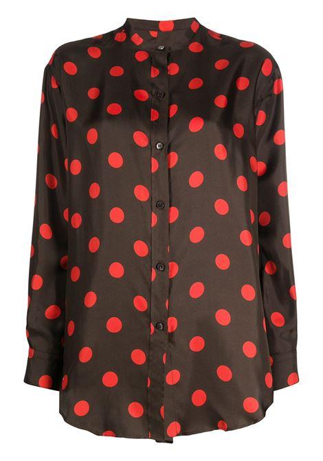 Brown and red silk polka dot shirt featuring band collar ALBERTO BIANI |  | MM805-SE301323