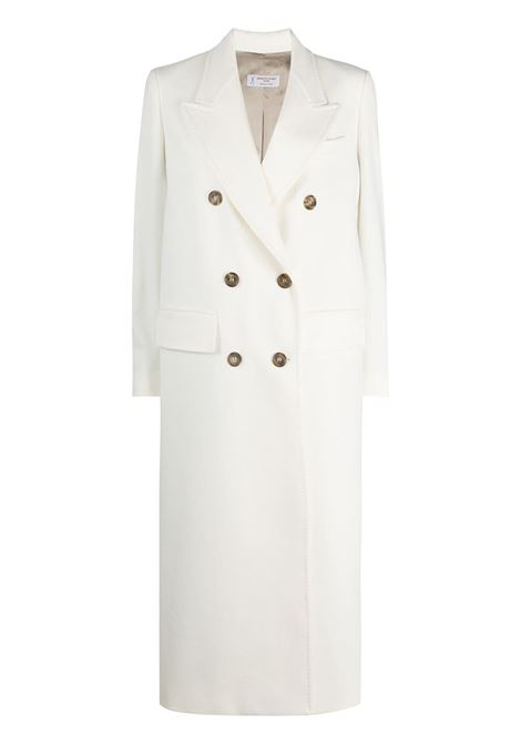 White cotton and virgin wool double-breasted midi coat featuring wide peak lapels ALBERTO BIANI |  | OO807-WO003711
